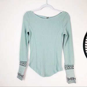 NEW Free People Rosey Mint Blue Waffle thermal top